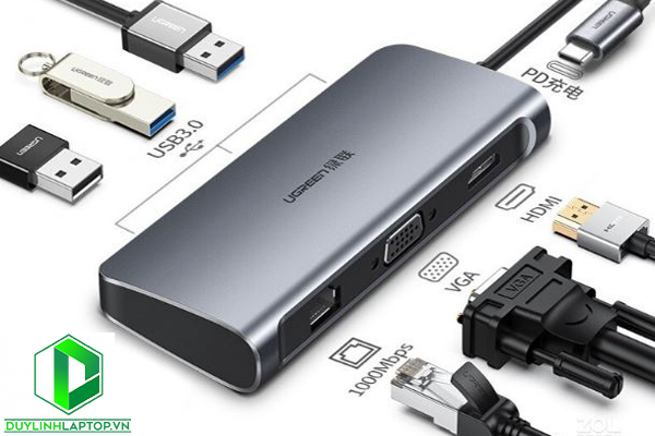 Ugreen 60557 - Cáp USB Type C to HDMI, VGA, Lan, USB 3.0, USB C