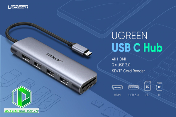 Cáp USB Type C to HDMI, USB 3.0, đọc thẻ SD/TF Ugreen 70410