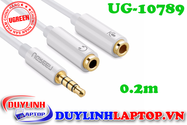 Cáp Audio 3.5mm to Audio + Micro dài 0.2m Ugreen 10789