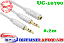 Cáp Audio 3.5mm to Audio + Micro dài 0.2m Ugreen 10790