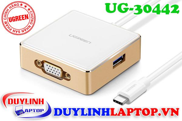 Cáp chuyển đổi USB Type C sang VGA + Hub 1 USB 3.0, 2 USB 2.0 chính hãng Ugreen 30442