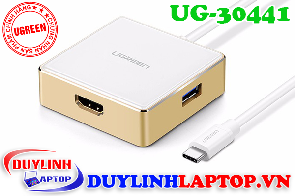 Cáp chuyển USB type C to HDMI + USB 3.0, USB 2.0 hỗ trợ sạc cho Macbook chính hãng Ugreen 30441