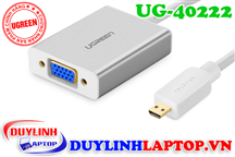 Micro HDMI to VGA + Audio 3.5mm vỏ nhôm Ugreen 40222