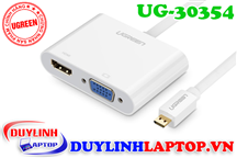 Cáp Micro HDMI to VGA + HDMI + Audio 3.5mm Ugreen 30354