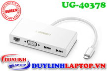 Cáp USB Type C To VGA, Lan 10/100Mbps, Hub USB 3.0 Ugreen 40378